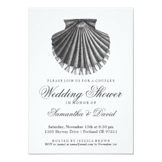 Beach Couple's Wedding Shower Scallop Shell Charco 5x7 Paper Invitation Card
