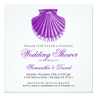 Beach Couple's Wedding Shower Scallop Shell Purple Personalized Announcement