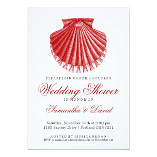 """Beach Couple's Wedding Shower Scallop Shell Red 5"""" X 7"""" Invitation Card"""
