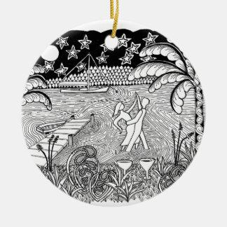 Beach Dancing Zentangle Style Ornament