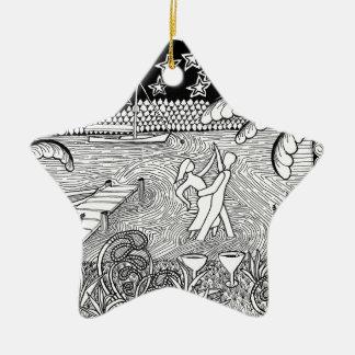 Beach Dancing Zentangle Style Christmas Ornaments