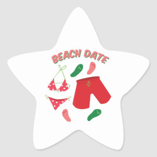 Beach Date Star Sticker