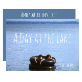 Beach, Day at the Lake Swimming Beach Party Card