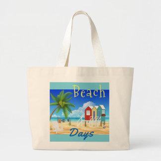 Beach Days Huts Sand Ocean Vacation Jumbo Tote