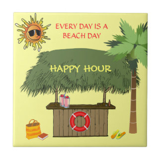 BEACH DAYS Tiki Hut Bar Tropical Happy Hour Funny Tile