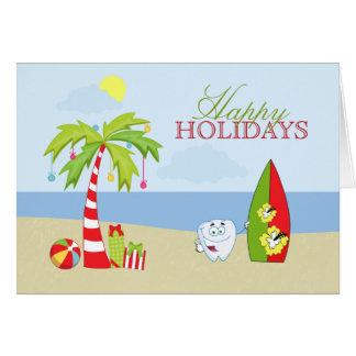 Beach dentist tooth Happy Holidays Christmas card