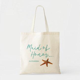 Beach destination starfish wedding maid of honor tote bag