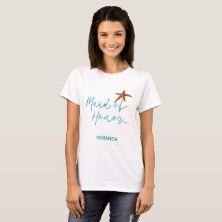 Beach destination starfish wedding maid or honor T-Shirt