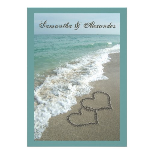 Beach Destination Wedding 5x7, Sand Hearts Custom Invitations