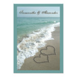 "Beach Destination Wedding 5x7, Sand Hearts 5"" X 7"" Invitation Card"