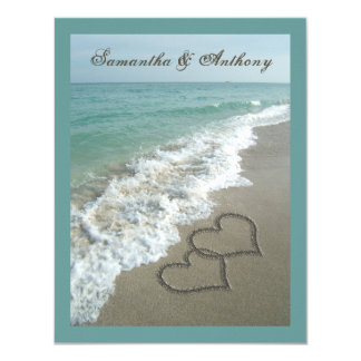 Beach Destination Wedding Sand Hearts Medium Size Card