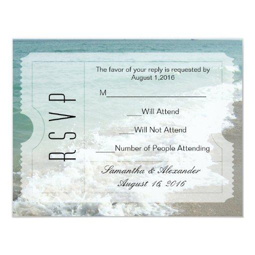 Beach Destination Wedding Ticket Invitation RSVP