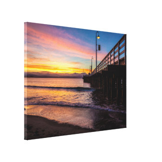 Beach Dock Scene Wrapped Canvas