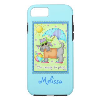 Beach Dog Ready to Play Turquoise Name Personalize iPhone 7 Case