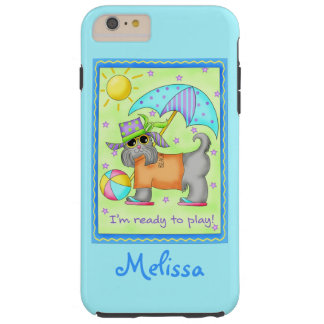Beach Dog Ready to Play Turquoise Name Personalize Tough iPhone 6 Plus Case