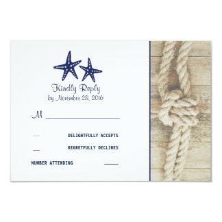Beach Driftwood Rustic Nautical Wedding RSVP Cards