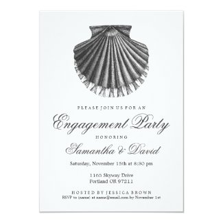 Beach Engagement Party Scallop Shell Charcoal Card