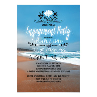 Beach Engagement Party   Seaside Card