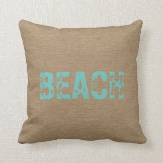 Beach faux burlap linen jute nautical shabby decor pillows