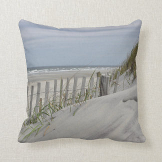 Beach fence and sand dune at the beach throw pillow