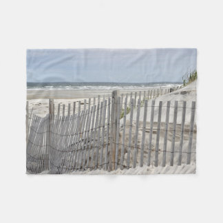 Beach fence and sand dune fleece blanket
