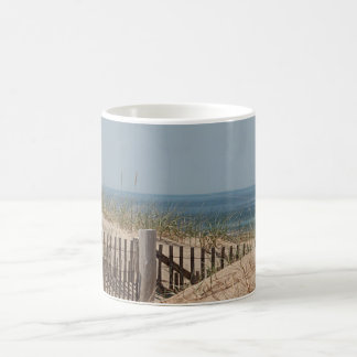 Beach fence and sand dunes coffee mug