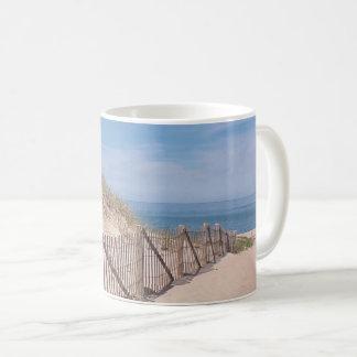 Beach fence and sandy beach on Cape Cod Coffee Mug