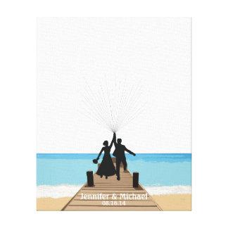 Beach Fingerprint Balloon Guestbook Canvas Print