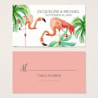 Beach Flamingo Tropical Leaf Escort Table Seating Business Card
