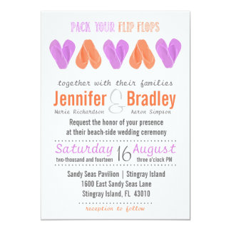 Beach Flip Flop Hearts Radiant Orchid and Coral Card