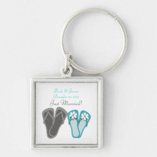 Beach Flip Flops Just Married Keychain