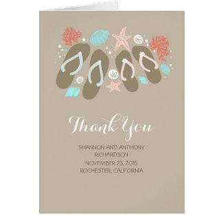 beach flip flops romantic wedding thank you card
