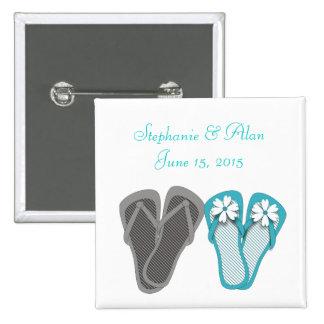 Beach Flip Flops Wedding Button