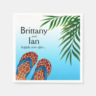 Beach Flip Flops Wedding Cocktail Party Disposable Napkin