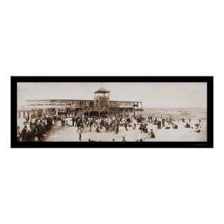 Beach Fun Asbury Park Photo 1902 Poster