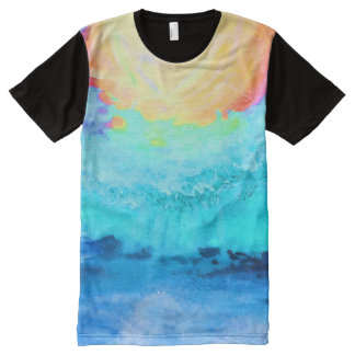 Beach Fun!   Black Paneled Long T-Shirt