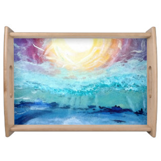 Beach Fun!  Natural Wood Finish Serving Tray