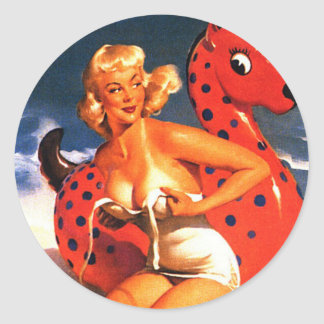 Beach Fun Pin Up Classic Round Sticker