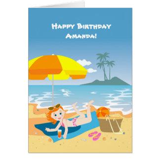 Beach girl summer birthday party card