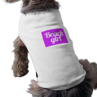 Beach girl surfer attitude happy fun sun living doggie t shirt