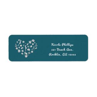 Beach Glam Diamond Heart Elegant Summer Invitation Return Address Label