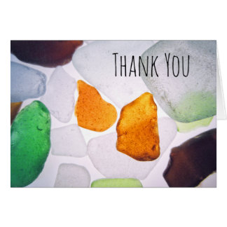 Beach Glass, Colorful Shards Sea Glass Thank You Card