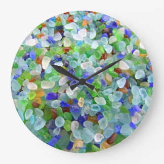 Beach Glass Large Clock