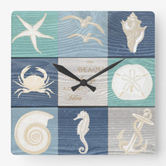 Beach Good Idea Blue Aqua Old Wood Sea Clock