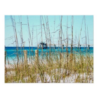 Beach Grass Painted Photo Poster