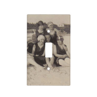 Beach Group 1920 Vintage Photograph Light Switch Cover