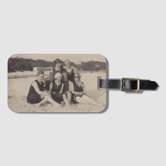 Beach Group 1920 Vintage Photograph Luggage Tag