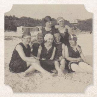 Beach Group 1920 Vintage Photograph Paper Coaster