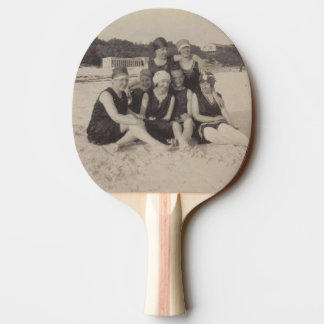 Beach Group 1920 Vintage Photograph Ping Pong Paddle