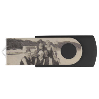 Beach Group 1920 Vintage Photograph USB Flash Drive